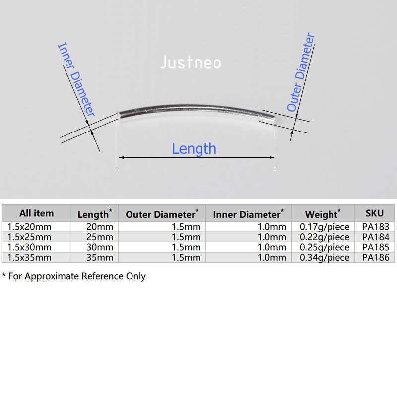 1.5 ミリメートル固体 925 スターリングシルバービーズ、湾曲したチューブビーズのネックレス & ペンダントブレスレットジュエリー。 1 ピース