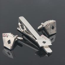 10 компл./лот гравировкой/персонализированные 4 Тузы покер карты плеер зажим для галстука комплект запонок латунь Медь tieclip запонки