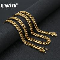 Uwin Solid Clasp Gold Stainless Steel Cuban Link Chain Top Quality 8 10 12 14mm Heavy