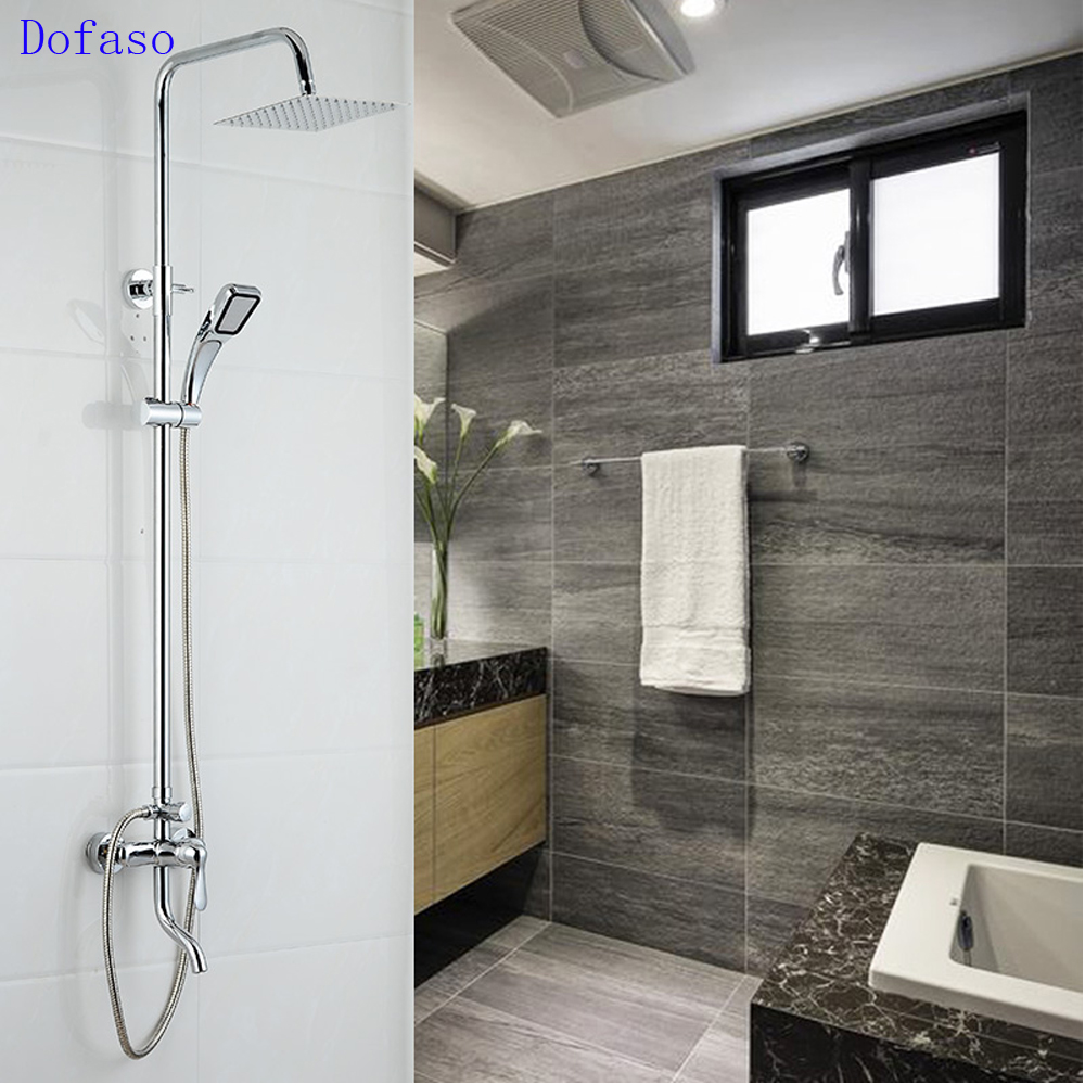 Dofaso brand prime quality Chrome Finish Luxury Bathroom Shower Sets Faucet Mixer Tap Wall Mount With Handshower with bottom tap fie new shower faucet set bathroom faucet chrome finish mixer tap handheld shower basin faucet