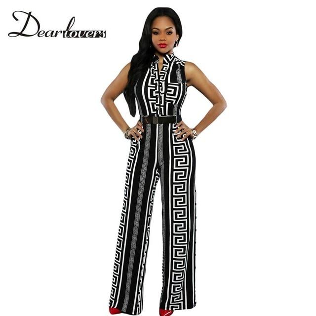 4b4a53a3c0 Dear lover Elegante Monos Largos Para Las Mujeres de Impresión Negro Oro  Con Cinturón de Verano