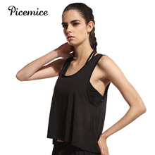 Picemice Womens Sport Shirts Yoga Tops Sleeveless Vest Fitness Running Clothes for Female Breathable Tank