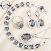 Mystic Rainbow White Topaz 925 Sterling Silver Jewelry Sets For Women Earrings Pendant Necklace Rings Bracelets