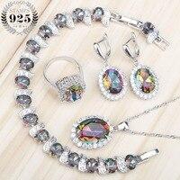 Mystic Rainbow White Topaz 925 Sterling Silver Jewelry Sets For Women Earrings Pendant Necklace Rings Bracelets