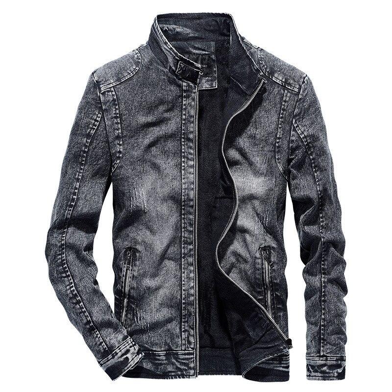 B 2019 mode nouveau Vintage Denim vestes hommes Slim Fit couleur unie décontracté hommes Jeans manteau Vintage vêtements pour hommes noir bleu
