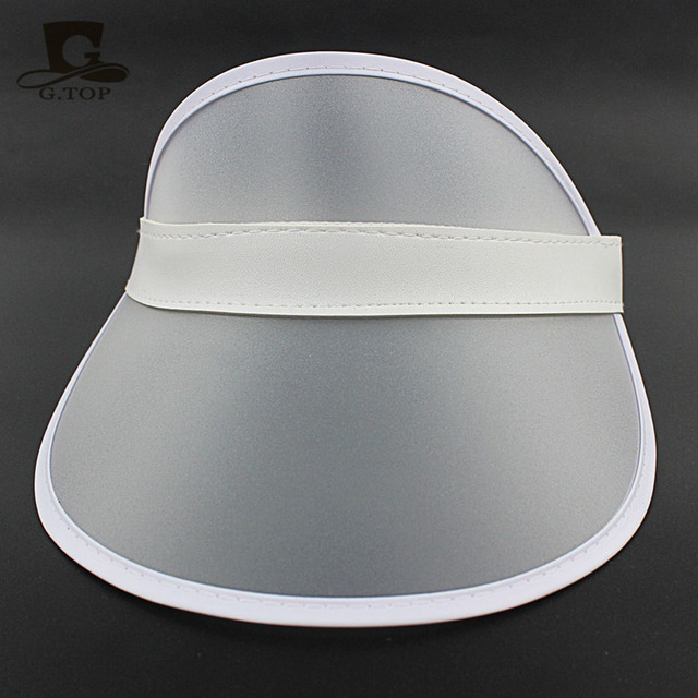 Summer Holiday Sun Hat Sun Visor Sunvisor Party Casual Unisex Hat Spring Autumn Red Green Clear Plastic Solid Adult Cap wholesal 5
