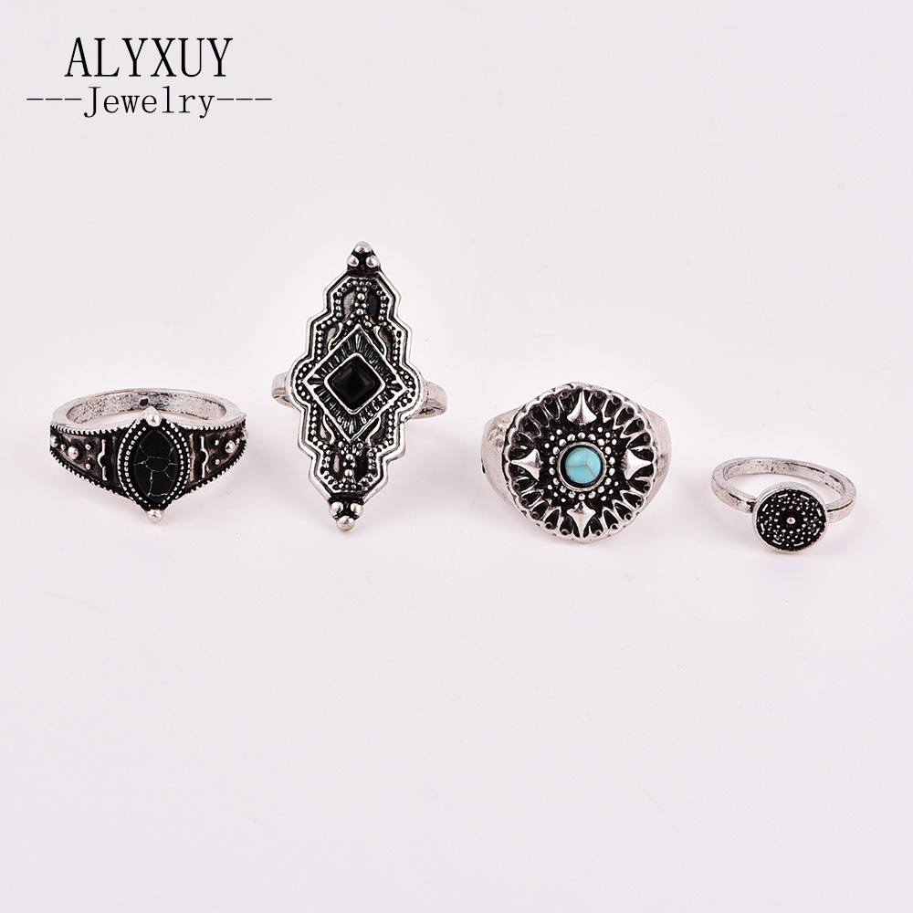 New vintage retro jewelry Natural stone finger ring set gifts for women girl R0012