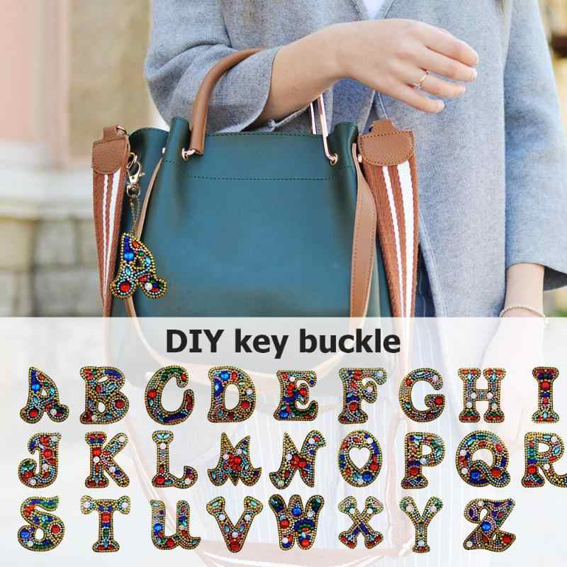 Creative DIY Diamond Painting 26 Letters Resin Bag Keychain Jewelry Gift Backpack Bag Hanging Accessories