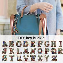 Creative DIY Diamond Painting 26 Letters Resin Bag Keychain Jewelry Gift Backpack Bag Hanging Accessories(China)