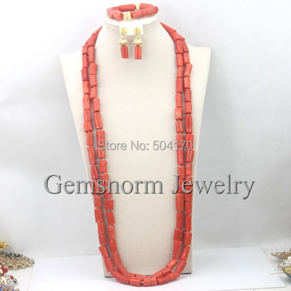 Fantastic Coral Beads Long Necklace Set Nigerian Party African Coral Beads Jewelry Set Lady Jewelry Set Free Shipping CNR227