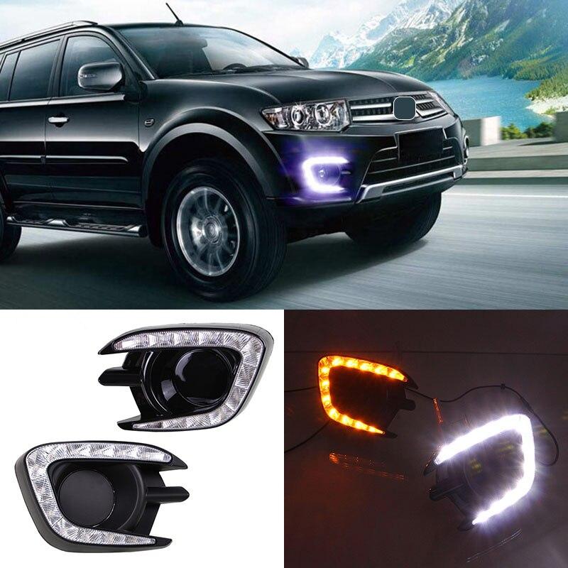 Для Митсубиси Паджеро Спорт 2013 2014 2015 LED дневного света DRL с туман Лампа отверстие и поворотом Функция осветительного