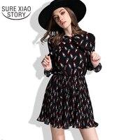 Hot Sale 2017 New Arrival Fashion Long Sleeve Spring Pleated Chiffon Dress Women Elegant Casual Plus