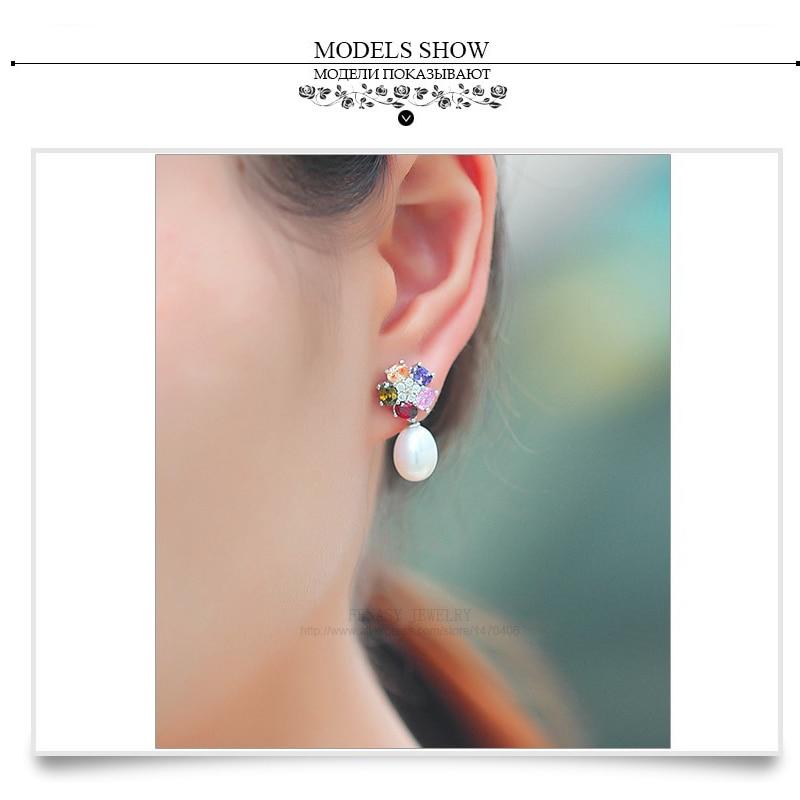 FENASY Genuine Natural Pearl Ohrringe 925 Sterling Silber Mode Blume - Edlen Schmuck - Foto 5