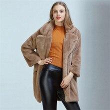 Imitation Rabbit Furry Fur Coat Female Faux Fur Long Suit Collar Loose Winter Female Thick Warm Coat Jacket Black Pink A1767