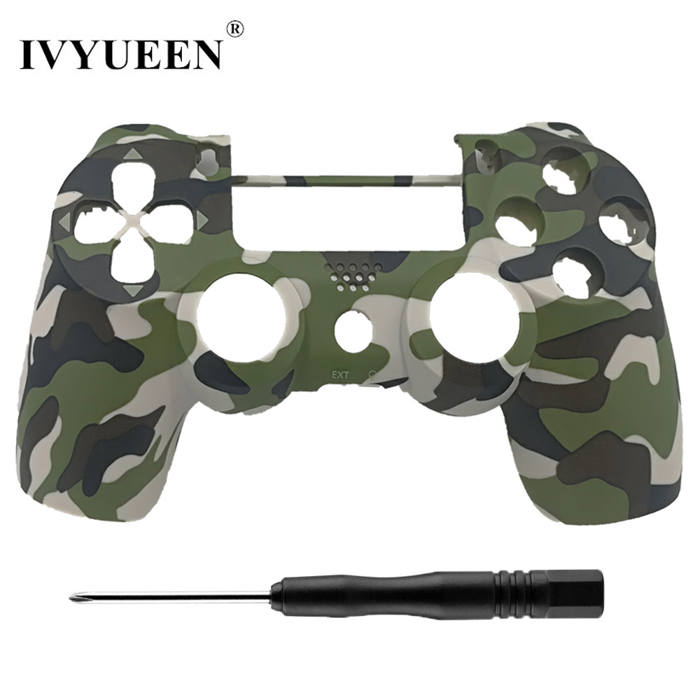 IVYUEEN New Housing Front Shell Faceplate For Dualshock 4 PS4 Pro Slim Controller Cover for Play Station 4 Green Camo Case