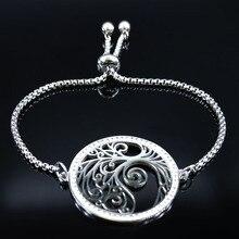 цена на Tree of Life Crystal Stainless Steel Bracelets Women Silver Color Chain Bracelet Jewelry pulsera acero inoxidable mujer B18453