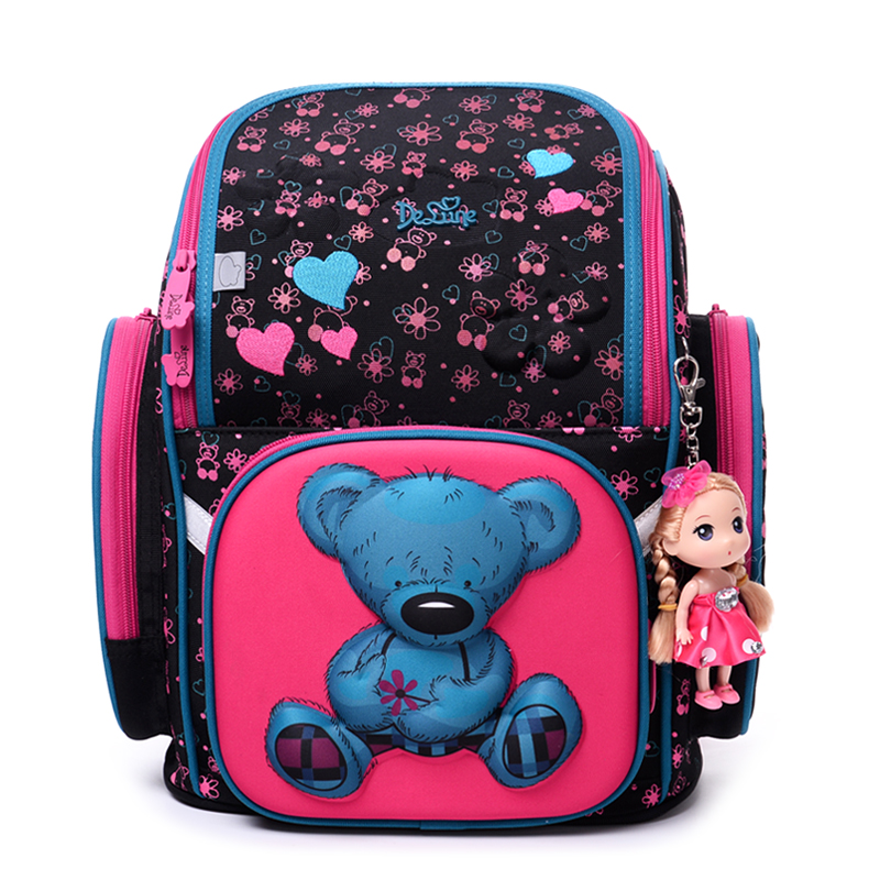 2017 бренд delune Новая девушка Школьные ранцы 3D милый медведь цветочный узор Водонепроницаемый ортопедический рюкзак школьный Mochila Infantil