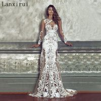 2018 Elegant Long Bridesmaid Wedding Party Dress Sexy Embroidery Dress White Lace Female Clothing Women Brand Vestidos De Festa