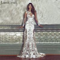 2018 Elegant Long Bridesmaid Wedding Party Dress Sexy Embroidery Dress White Lace Female Clothing Women Brand Vestidos De Festa