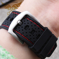 24mm New Mens Black Red Stitched Waterproof Diving Silicone Rubber Watch band Strap