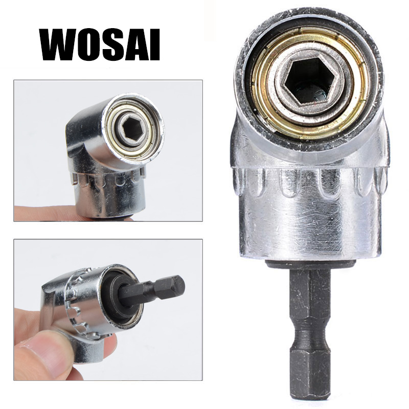 WOSAI 105 Degrees 1/4 Electric Hex Drill Bit Adjustable Hex Bit Angle Driver Electric Drill Socket Holder Adaptor Tools wosai 6pcs electric drill