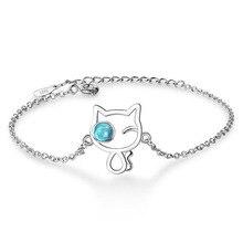 Trendy Design 925 Sterling Silver Clear Crystal Cute Blue Cats Chain Bracelet For Girls Women Bangle Creative Gift Korea Jewelry недорого