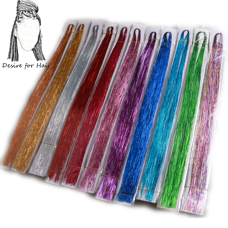 Desire For Hair Sparkling Bling Bling 22 Inch Synthetic Hair Tinsel For Party And Night Life Gold Silver Colorful Colors