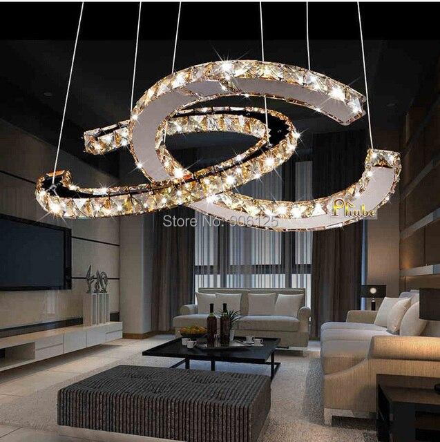 Phube Lighting LED Ring Chandelier Light Modern Amber Crystal Lustre ...
