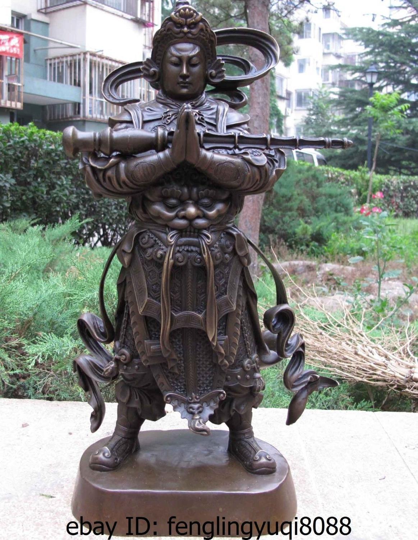 China Buddhism Copper Bronze Veda Skanda God Warrior Wei Tuo Bodhisattva Statue