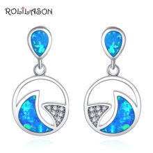 Roilason для женщин круглый узор дизайн создан синий огонь серьги
