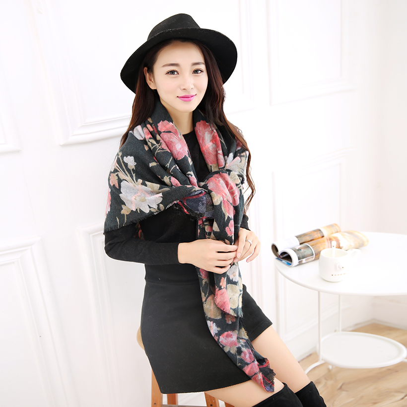 2016 Floral scarf women winter Pashmina new worsted cashmere luxury brand blanket oversized wrap shawl font
