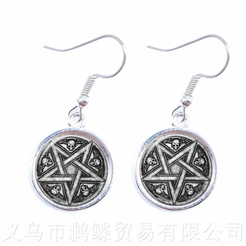 New Supernatural Pentagram Glass Earrings Gothic Pendant Satanism Evil Occult Pentacle Jewelry Pagan Charm Drop Earrings Gift