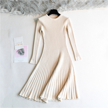 2019 Woman Long Thick Dress Sweater Full Sleeve A-Line Robe Knit Elegant Autumn Winter Solid