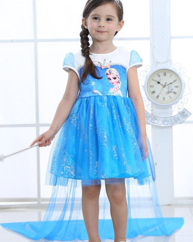 2018 Girls Princess Elsa Dress Costumes for kids Elsa Anna Snow Queen Costume Cosplay Dresses Clothes Children Party Dress