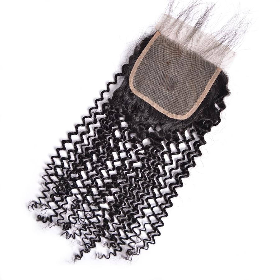 Tri / srednji / brezplačni del perujski kinky curly zaprtje 4x4 - Človeški lasje (za črne) - Fotografija 3