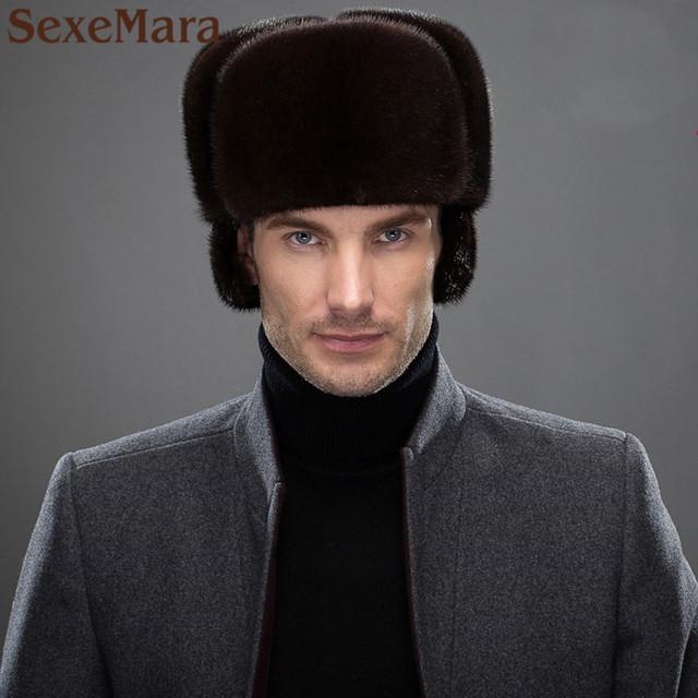 Hombres orejeras orejeras casquillo del estilo Ruso de piel de visón invierno Super caliente luxur espectáculo clásico otoño masculino sombrero de piel de pelo guapo