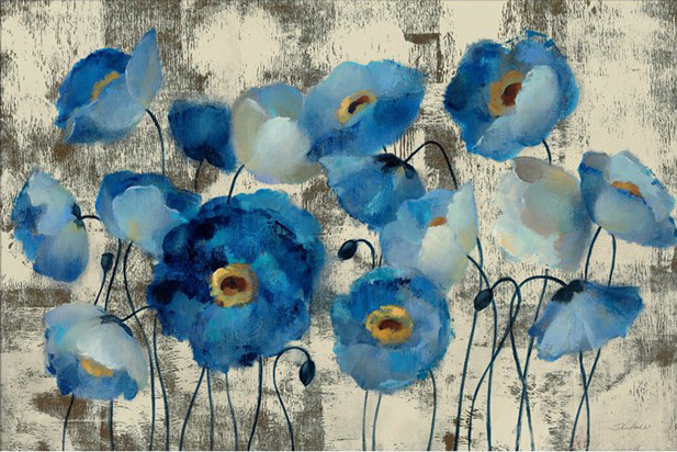 Hot sell abstract oil painting flower Aquamarine Floral by Silvia Vassileva Painting Art on Canvas High quality hand painted