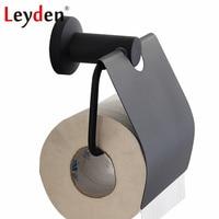 Leyden Toilet Paper Holder Black Stainless Steel Toilet Roll Holder Wall Mounted Modern Toilet Tissue Toilet Bathroom Accessory