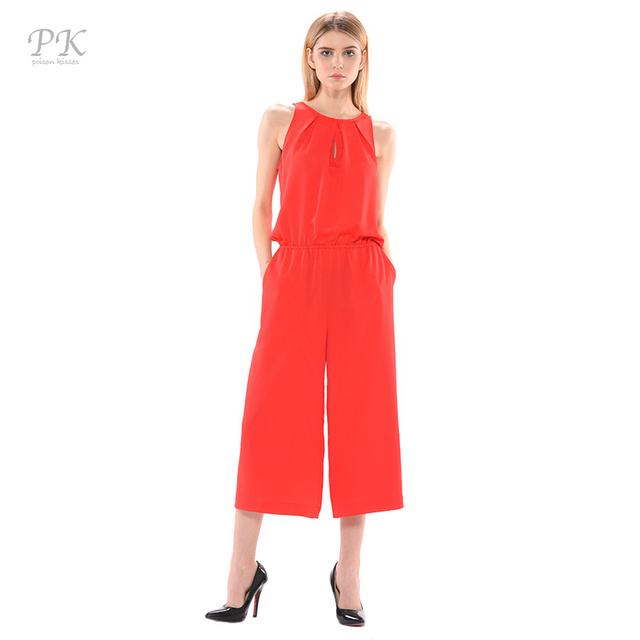 3c15d99693a PK red jumpsuit romper summer 2018 elegant femme girls womens jumpsuit long  red romper pleat combinaison pantalon femme elegante