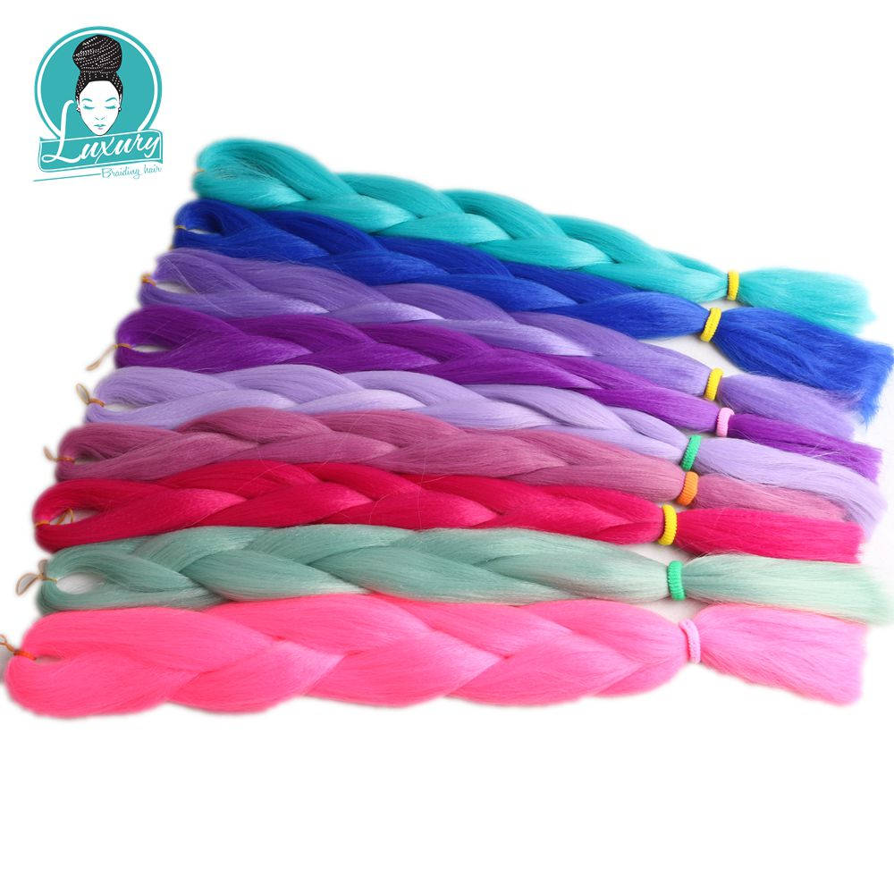 Luxury 1pack 24 60cm Folded 80grams Navy Neon Olive Green Lavender Lilac Vintage Pink Kanekalon Synthetic Jumbo Braiding Hair Hair Braids