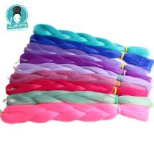 "Luxury 1pack 24"" 60cm Folded 80grams Navy Neon Olive Green Lavender Lilac Vintage Pink synthetic jumbo braiding hair(China)"