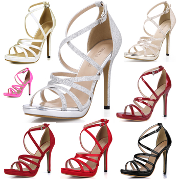 CHMILE CHAU Glitter Sexy Wedding Party Women Shoes Stiletto Heel Gladiator Rome Buckle Ankle Strap Bridal Sandals 0640A-4c