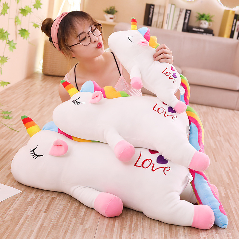 1pc 40-85cm Lovely Rainbow Butterfly Heart Unicorn Plush Toy Soft Kawaii Animal Unicornio Doll for Kids Baby Stuffed Pillow Gift  - buy with discount