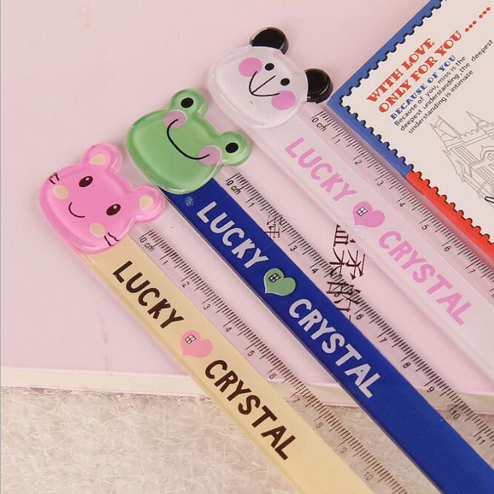 15cm Cute Kawaii Plastic Ruler Creative Cartoon Cat Panda Frog Ruler Kids Gift School Office Supplies Painting