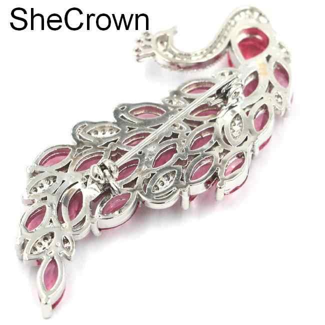 Baru Dirancang Besar Phoenix Pink Tourmaline CZ Shecrown Hadiah Perak Bros 61X26 Mm