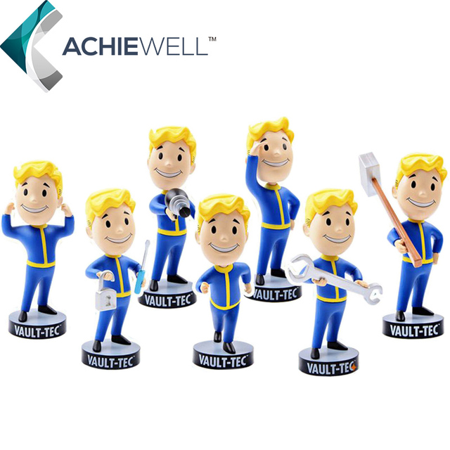Hot Gaming Heads Fallout 4 Characters Vault Boy Bobbleheads Series PVC Action Figure Fan Collection Kid Gift Toys Desk Doll