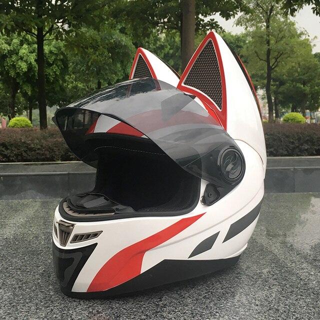 NITRINOS Motorcycle helmet men and women racing personality four seasons safety helmet cat ear helmet 4