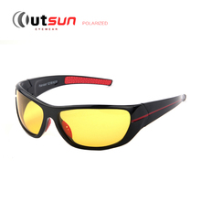 OUTSUN New 2017 Mens Polarized Night Driving Sunglasses Brand Yellow Lens Night Vision Driving Glasses Goggles Reduce Glare