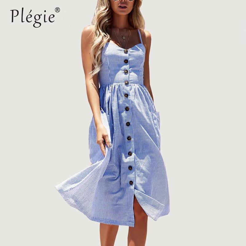 Plegie Striped Button Sexy Casual Summer Strap Dress Long Boho Beach Pockets Women Sundress Vestidos Elegant Daily Dess Female