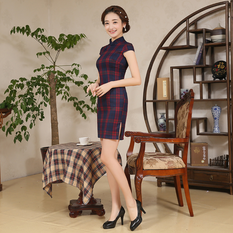 Hearty Shanghai Story Chinese Traditional Dress Summer Style Lattice Printing Vintage Cheongsam Qipao Elegant Short Printed Party Dress Modern And Elegant In Fashion